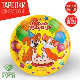 Тарелка бумажная «С Днём Рождения! Пёсик и кошечка», 18 см Ош
