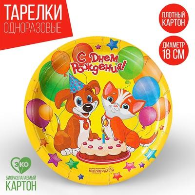 Тарелка бумажная «С Днём Рождения! Пёсик и кошечка», 18 см