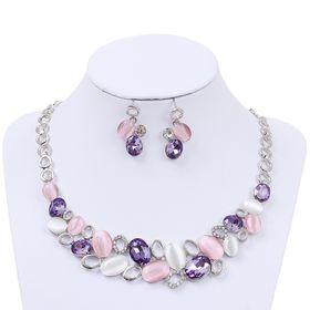 Набор 2 предмета: серьги, колье 'Листочки', цвет розовый в серебре Ош