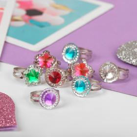 Кольцо детское 'Выбражулька' кристаллик, форма МИКС, цвет МИКС, безразмерное Ош