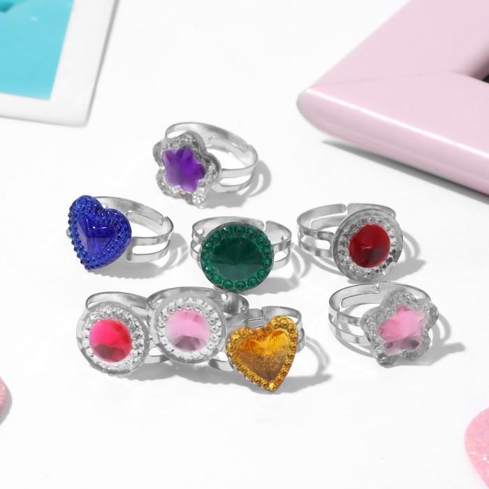 Кольцо детское Выбражулька кристаллик, форма МИКС, цвет МИКС, безразмерное