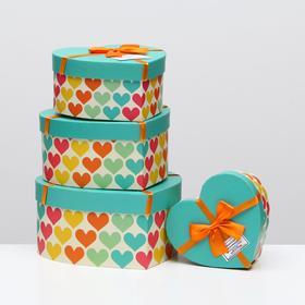 """Набор коробок в форме сердца 4 в 1 """"Сердце"""", 23,5 х 22 х 11,5 - 14 х 14,5 х 7,5 см"""