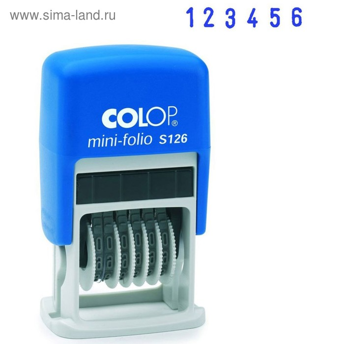 Нумератор механический 6-разрядный Colop S 126/BL, высота шрифта 3,8 мм