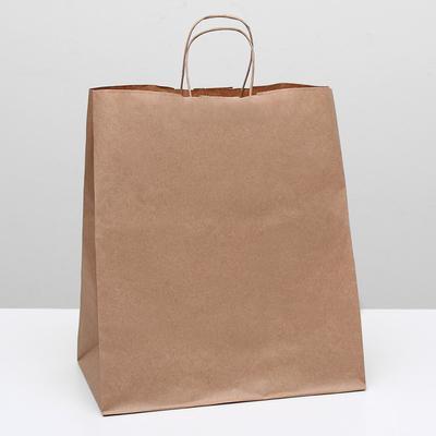 Пакет крафт без печати, круглая ручка 32 х 20 х 37 см