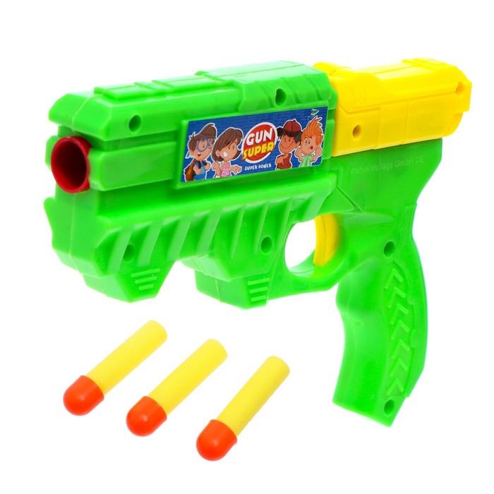 Пистолет Бластер, стреляет мягкими пулями, цвета МИКС