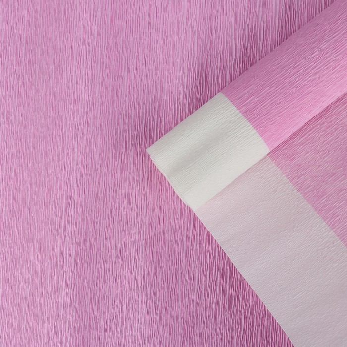Бумага креп, с белым верхом, цвет розовый, 0,5 х 2,5 м