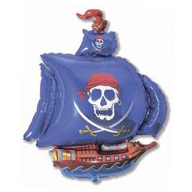 """Шар фольгированный 12"""" «Корабль пиратский» для палочки, цвет синий"""