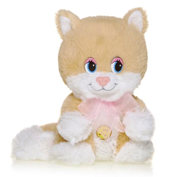 Мягкая музыкальная игрушка Весёлый котёнок с розовым бантом