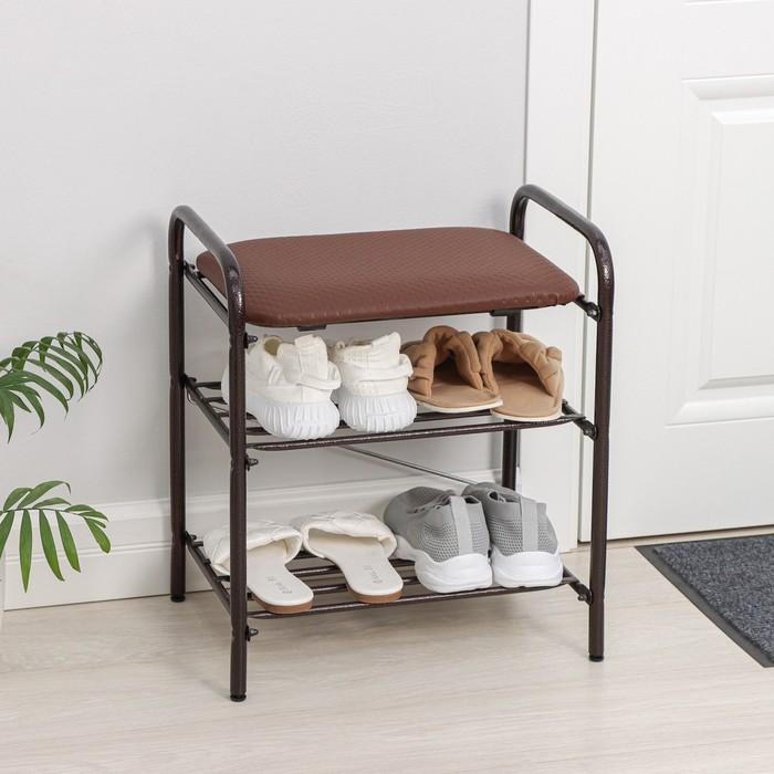 Банкетка для обуви 44×33×50 см, мягкое сиденье, цвет медный антик