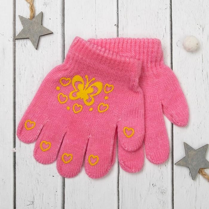 """Перчатки для девочки Collorista """"Бабочка"""", размер 14 (р-р произв. 12), цвет розовый/зелёный"""