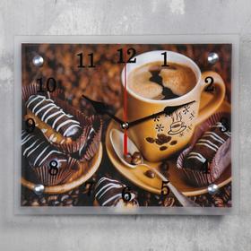 Часы настенные, серия: Кухня, 'Кофе с пирожным', 20х25  см, микс Ош