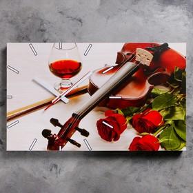 Часы настенные, серия: Музыка, 'Розы и скрипка', 61х37  см, микс Ош