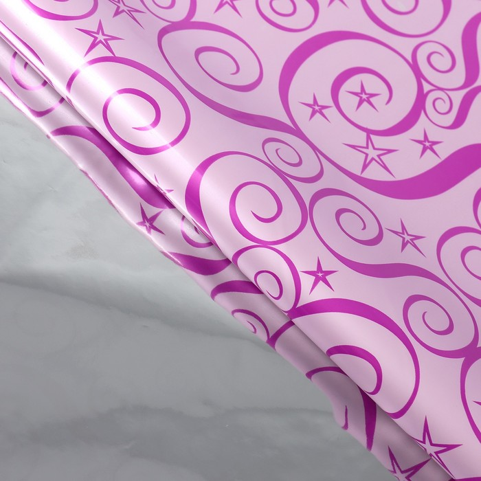 Бумага голографическая Узор, цвет малиновый