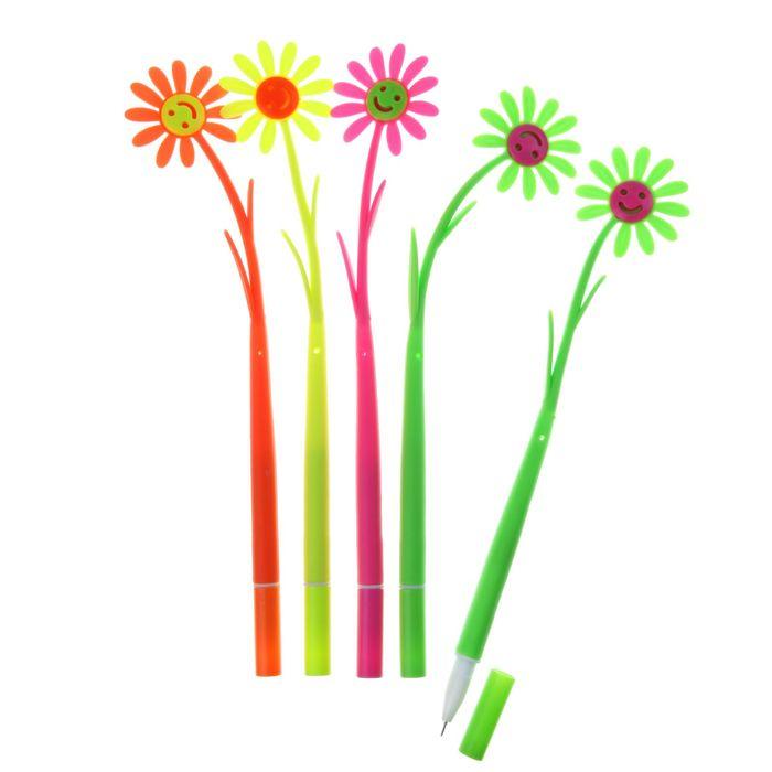 Ручка шариковая-прикол, Цветок-Ромашка-смайл, МИКС