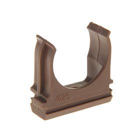 Крепеж-клипса для труб, d=25 мм, в наборе 10 шт, цвет темного дерева Ош