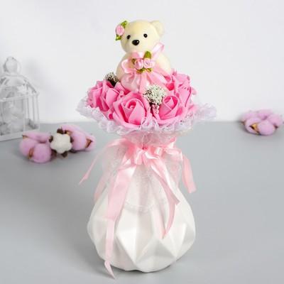 Букет «От всего сердца», с мишкой, 9 цветков, цвет розовый