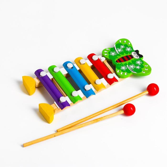 Игрушка музыкальная Металлофон Бабочка, 5 тонов
