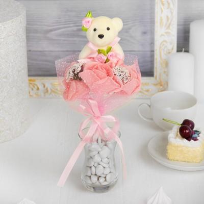Букет «Я люблю тебя», с мишкой, 3 цветка, цвет коралловый