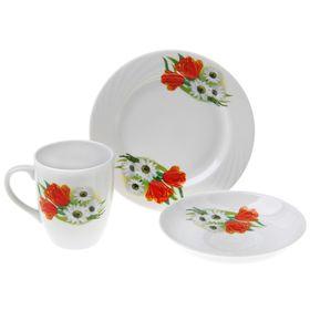 Набор подарочный «Ромашка с тюльпаном», 3 предмета: кружка 300 мл, блюдце d=15 см, тарелка d=17,5 см