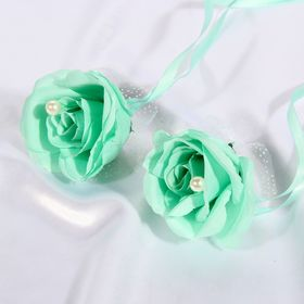 Набор бирюзовых роз для украшения свадебного авто Ош