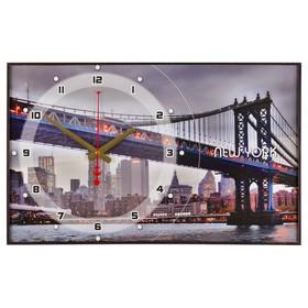 Часы настенные, серия: Город  'Бруклинский Мост', 37х60  см, микс Ош