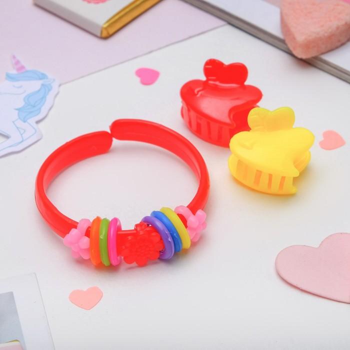 Комплект детский Выбражулька 3 предмета 2 крабика, браслет, сердечко, цвет МИКС