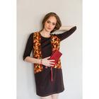 Платье женское 3988 цвет коричневый/оранжевый, р-р 44