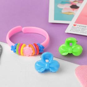 Комплект детский 'Выбражулька' 3 предмета: 2 крабика, браслет, бантик, цвет МИКС Ош