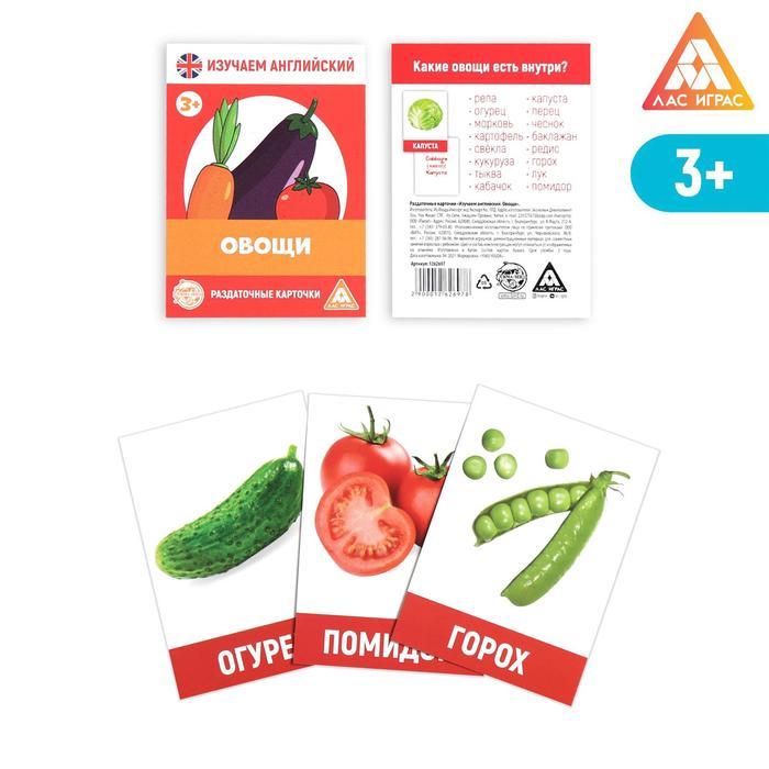 Обучающие карточки, английский язык «Овощи», 16 шт.