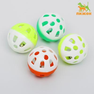 Набор из 4 шариков (диаметр шарика 4 см) с бубенчиком для кошек, микс цветов - Фото 1