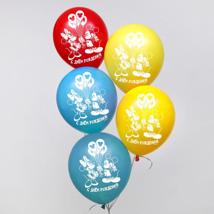 """Воздушные шары «С Днем Рождения», Микки Маус, 25 шт., 12"""""""
