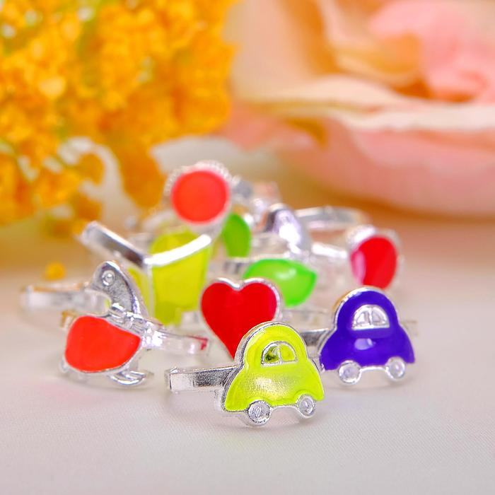 Кольцо детское Выбражулька неоновое ассорти, форма МИКС, цвет МИКС