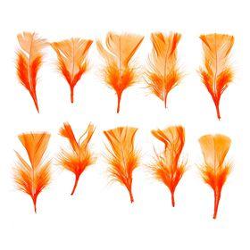 Набор перьев для декора 10 шт., размер 1 шт: 10 × 4 см, цвет оранжевый Ош