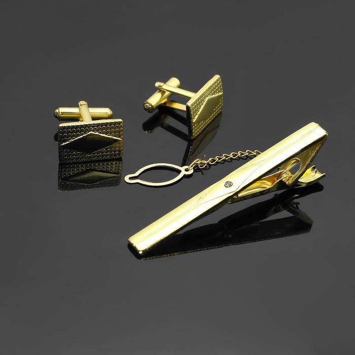 """Набор мужской """"Запонки + Зажим (6 см) для галстука"""" прямоугольник с ромбом, цвет золотой"""