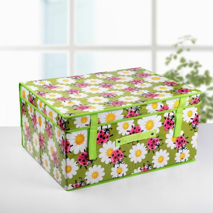 """Короб для хранения с крышкой 50×40×25 см """"Божьи коровки"""", цвет зелёный"""