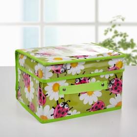 Короб для хранения с крышкой «Божьи коровки», 26×20×16 см, цвет зелёный Ош