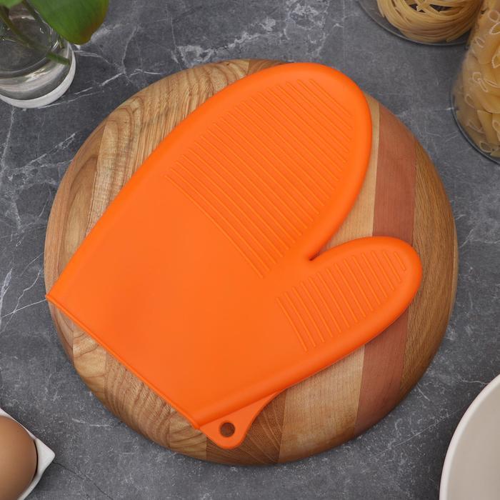 Рукавица силиконовая для горячего «Ребрис», 22×17 см, цвет МИКС