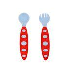 Набор столовых приборов для кормления: ложка и вилка, с силиконовыми ручками, от 5 мес., цвета МИКС