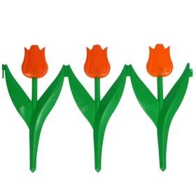 Ограждение декоративное, 30 × 225 см, 5 секций, пластик, оранжевый цветок, «Тюльпан»