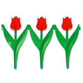 Декоративное ограждение для дачи и сада, 30 × 225 см, 5 секций, пластик, красный цветок, «Тюльпан» Ош