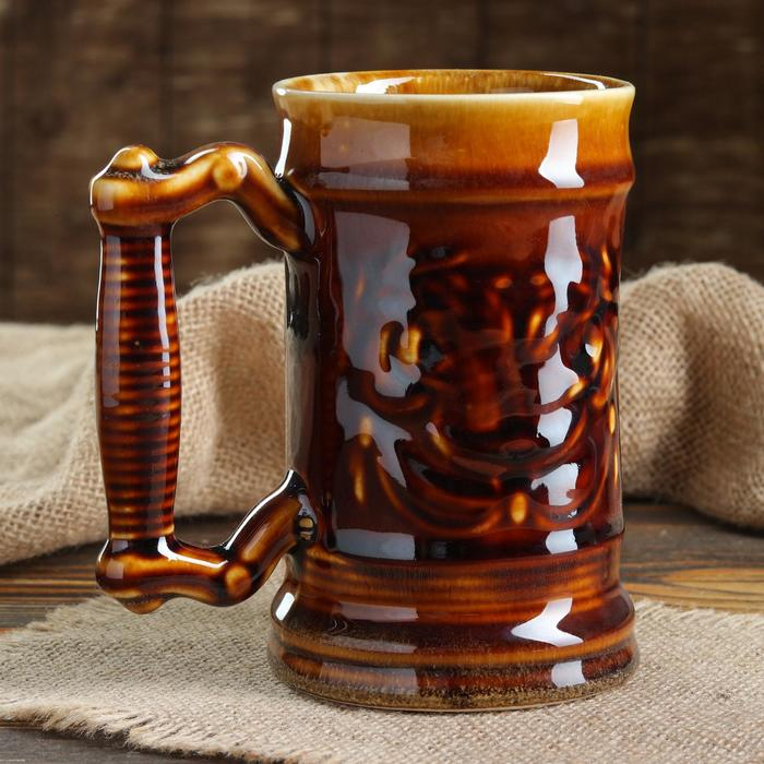 """Бокал """"Для пива"""", коричневый, керамика, 0.5 л"""