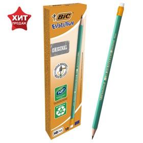 купить Карандаш чернографитный HB, c ластиком, зелёный корпус, BIC Evolution
