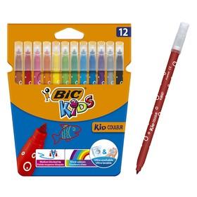 Цветные фломастеры 12 цветов, детские, смываемые, среднее письмо, BIC Kid Couleur