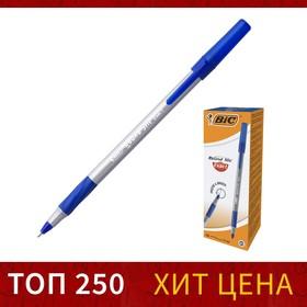 Ручка шариковая, синяя, тонкое письмо, резиновый упор, BIC Round Stic Exact