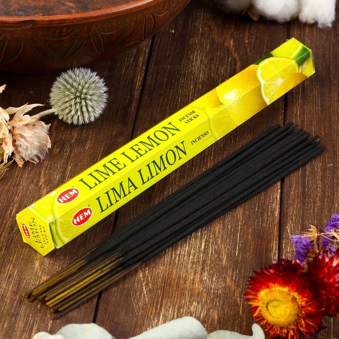 """Благовония HEM """"Lime Lemon. Лайм лимон"""", 20 палочек в упаковке, шестигранник"""