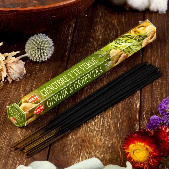 """Благовония HEM """"Ginger & Green Tea. Имбирь и зелёный чай"""", 20 палочек в упаковке, шестигранн"""