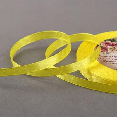 Лента атласная, 6 мм × 23 ± 1 м, цвет жёлтый №112