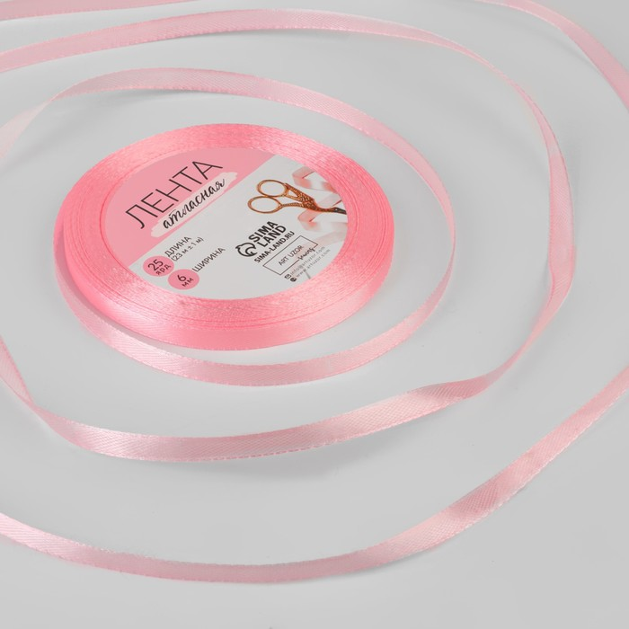 Лента атласная, 6 мм 23 1 м, цвет розовый 04