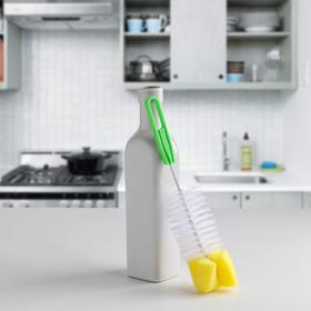 Ёршик для посуды с губкой, цвет МИКС Ош