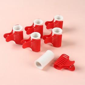 Термобигуди с крабом, d = 3,2 см, 6 шт, цвет МИКС